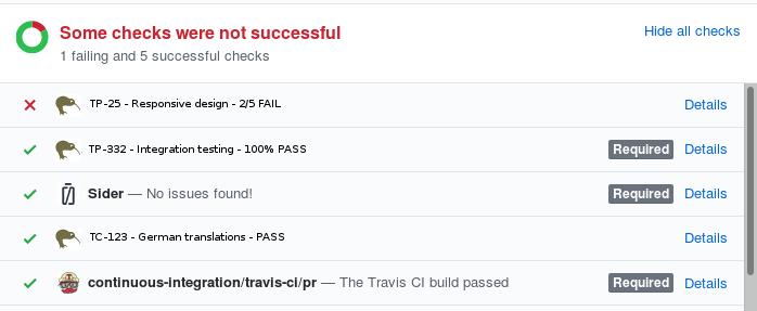 Kiwi TCMS statuses on GitHub PR